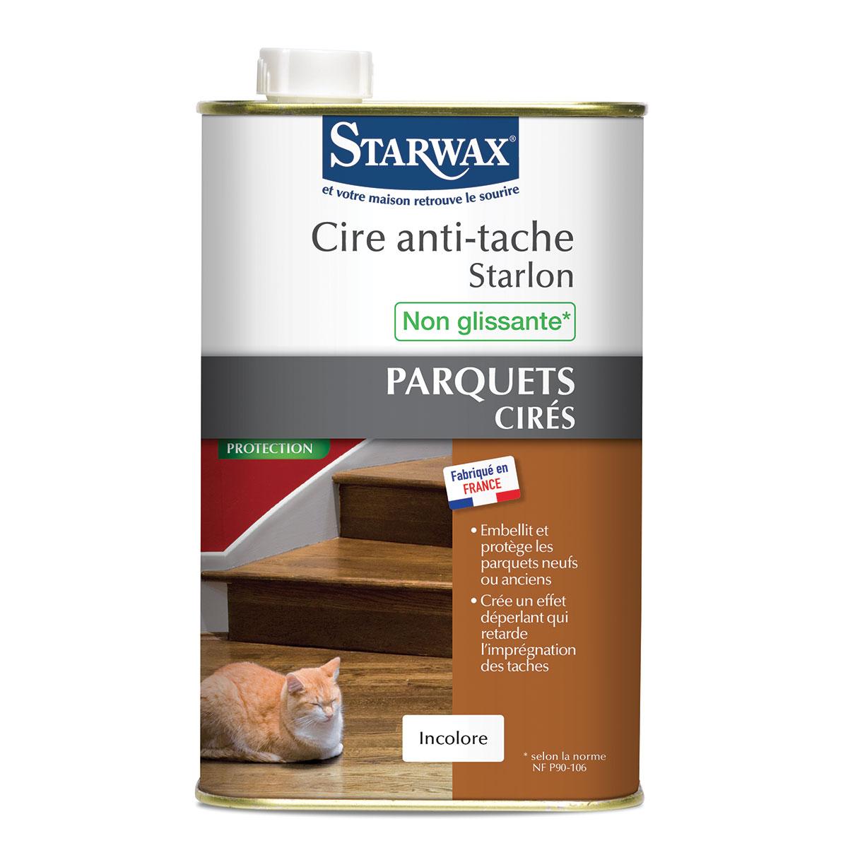 cire anti tache starlon pour parquet cir 1 litre starwax 000328 vente en ligne de produits. Black Bedroom Furniture Sets. Home Design Ideas